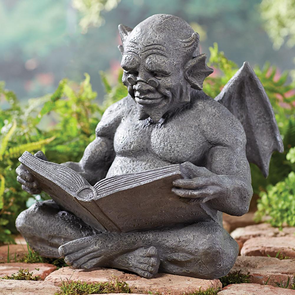 Nice Reading Gargoyle Garden Sculpture   Weatherproof Cast Resin Exclusive
