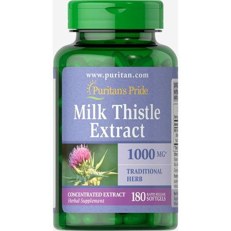 Puritan's Pride of Milk Thistle 4:1 Extract 1000 Mg (Silymarin)-180 Softgels FREE