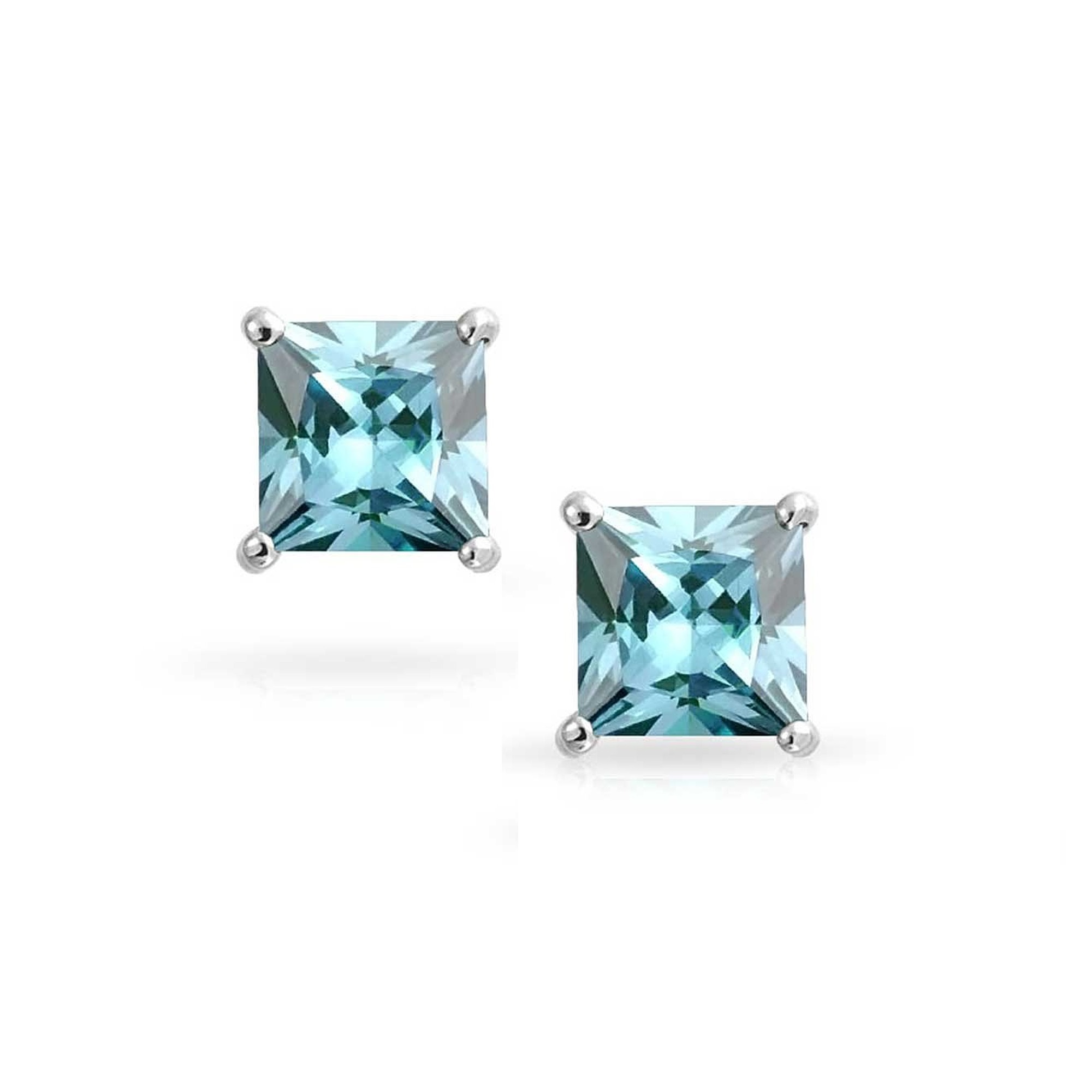 6b95fa0f7 Pori - Jewelers 14K Solid White Gold Birthstone Princess-cut Stud Earrings  made with Crystals Swarovski-MAR BOXED - Walmart.com