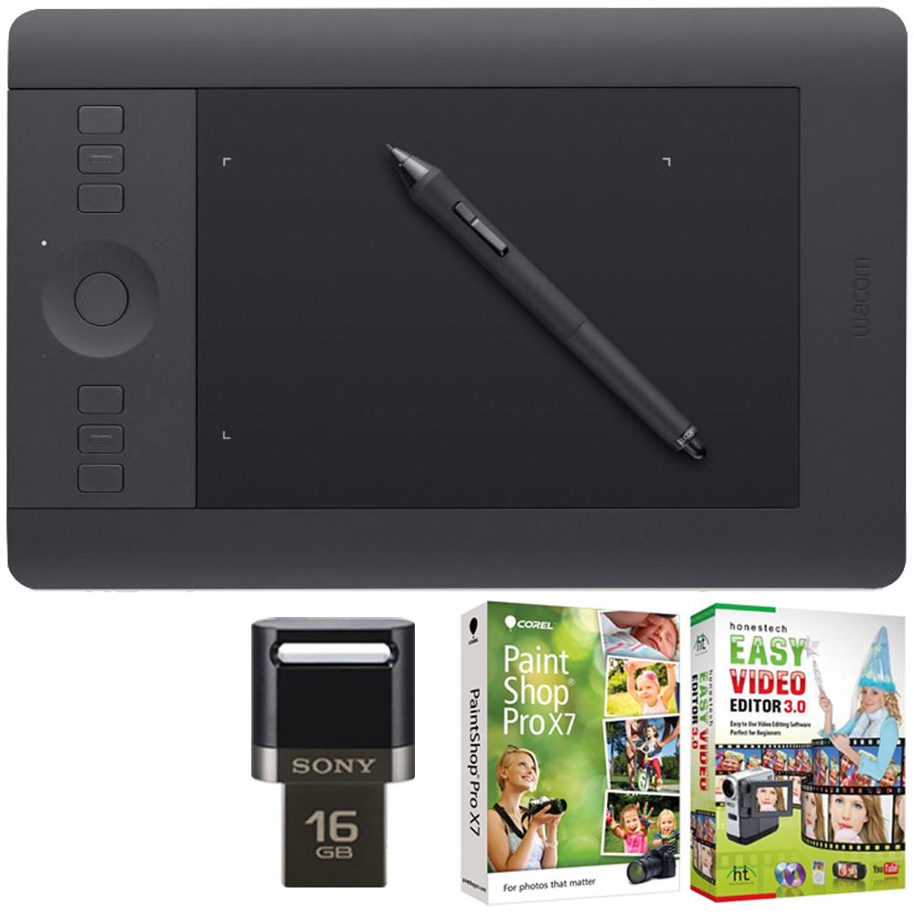 Wacom Intuos Pro Pen & Touch Tablet Small Creative Bundle w/16GB Lexar USB/Corel Paint includes Intuos Pro Tablet, Corel Paint Shop Pro and 16GB JumpDrive
