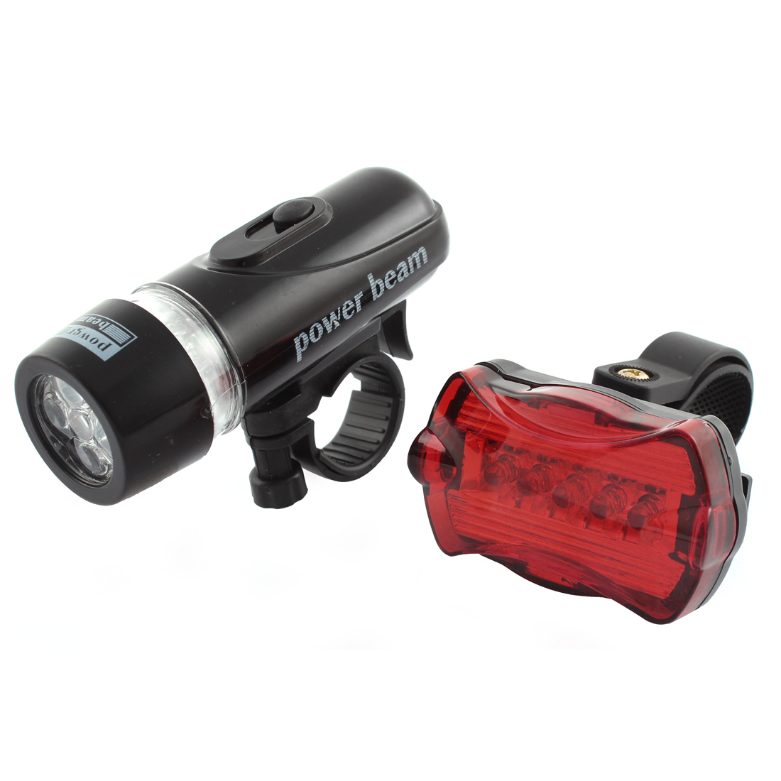 Mountain Bike Bicycle Cycling 5 LED White Flashlight Torch Head Tail Light Set