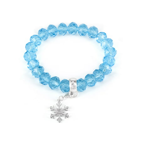Winter Wonderland Snowflake and Blue Bead Stretch Bracelet](Blue Bead Bracelet)