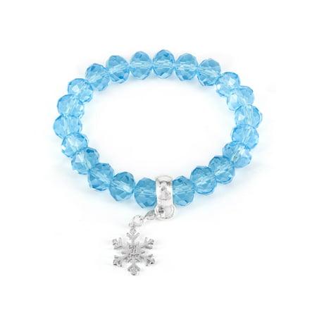 Winter Wonderland Snowflake and Blue Bead Stretch Bracelet - Blue Glow Bracelets