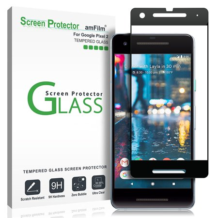 amFilm Pixel 2 Screen Protector, Full Cover Tempered Glass for Google Pixel  2 (1 Pack, Black)