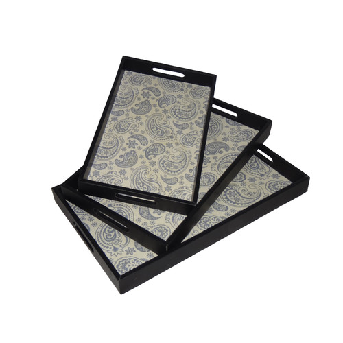 Cheungs 3 Piece Assorted Tray with Paisley Base Set