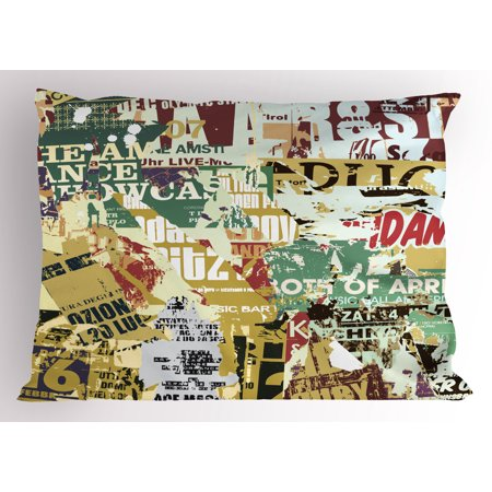 Retro Pillow Sham Grunge Style Collage Print of Old Torn Posters Magazines Newspapers Paper Art Print, Decorative Standard Queen Size Printed Pillowcase, 30 X 20 Inches, Multicolor, by Ambesonne