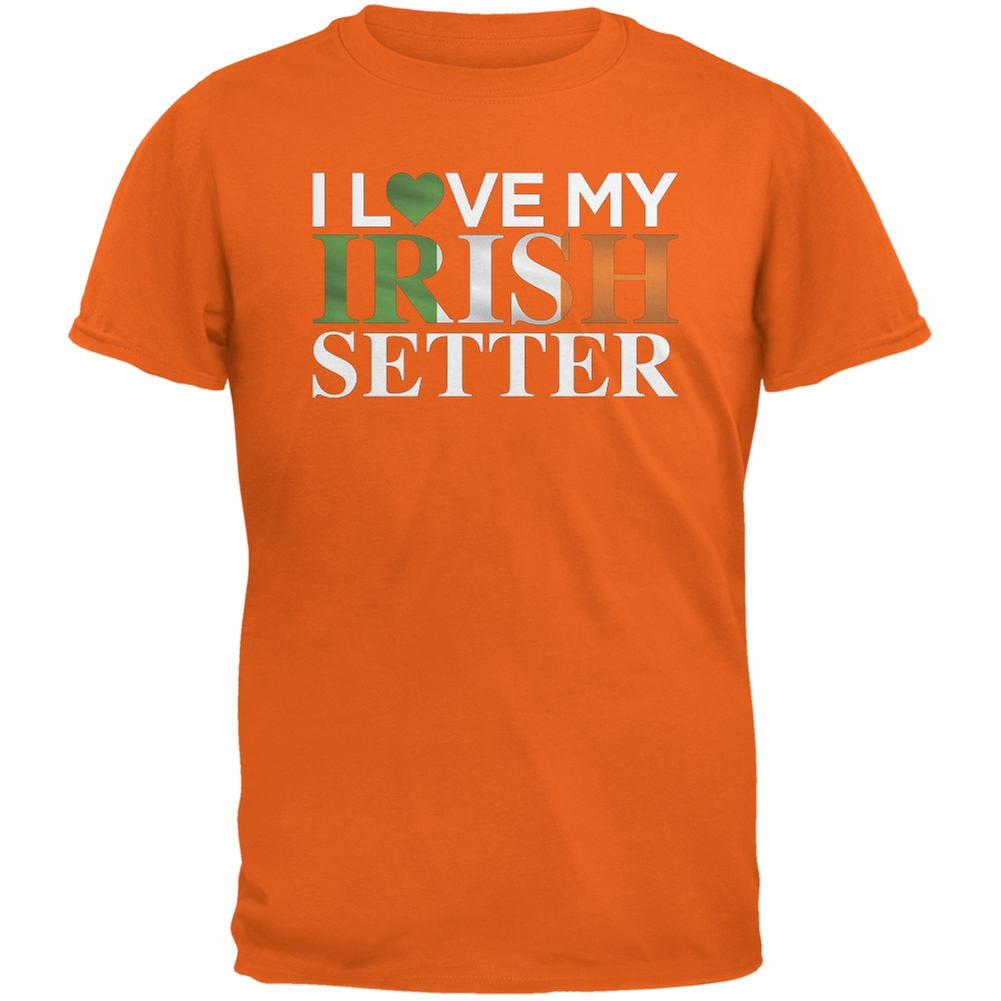 St. Patricks Day - I Love My Irish Setter Orange Adult T-Shirt