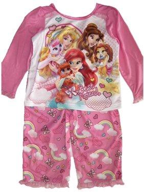 fb54bae16b925 Product Image Little Girls Pink Princesses Animal Rainbow 2 Pc Pajama Set  2T-4T. Disney
