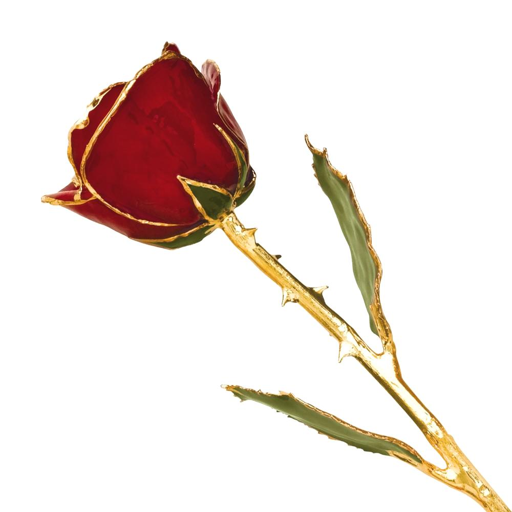 Lacquer Dipped Gold Trim Red Rose Figurine Orchid Leaf K Trimmed Keepsake Floral Home Decor Flower For Women