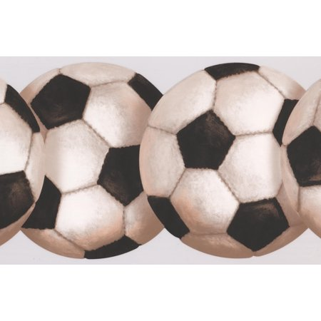 Soccer Ball Retro Wallpaper Border Sport Design, Roll 15' x 8