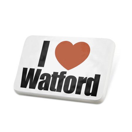 Porcelein Pin I Love Watford region: East of England, England Lapel Badge – NEONBLOND