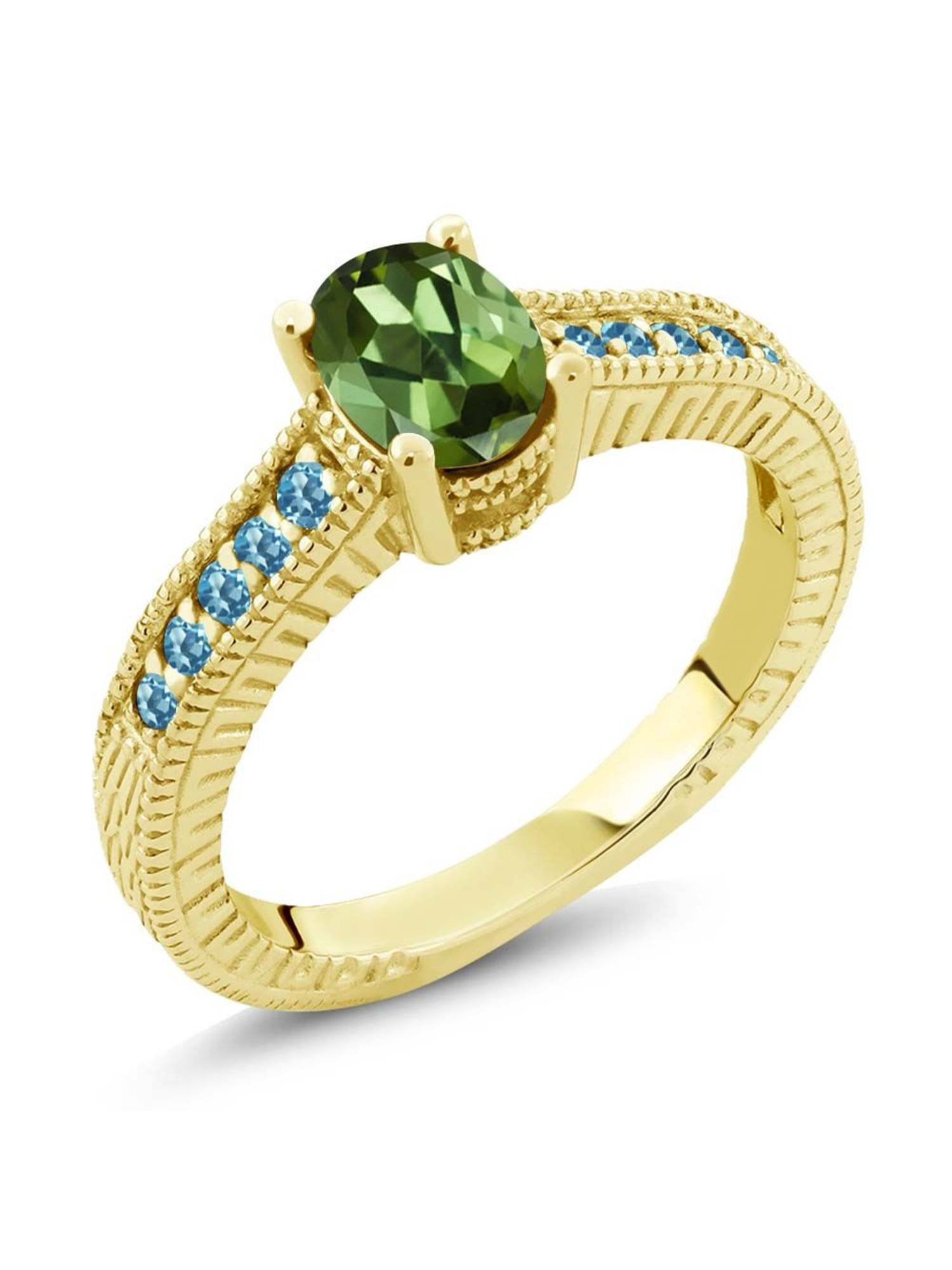 1.35 Ct Green Tourmaline Blue Simulated Topaz 18K Yellow Gold Plated Silver Ring by