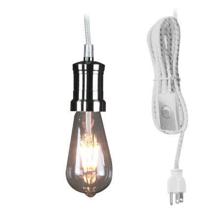 Plug-In Jeannie Pendant  Brushed Nickel 17' White/Grey Weave Pendant Includes Dimmable LED Bulb by Home Concept](Led Concert)