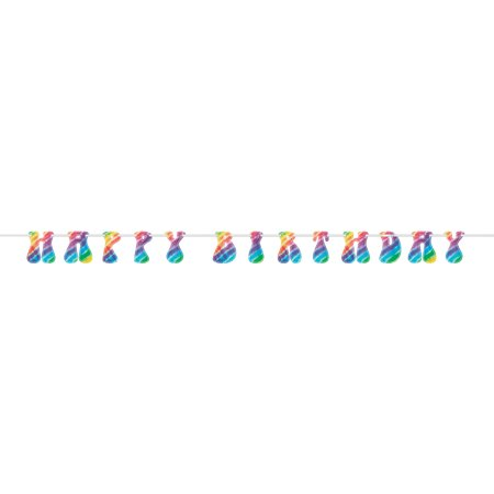 9ft Rainbow Tie Dye Happy Birthday Banner - Happy Birthday Chica