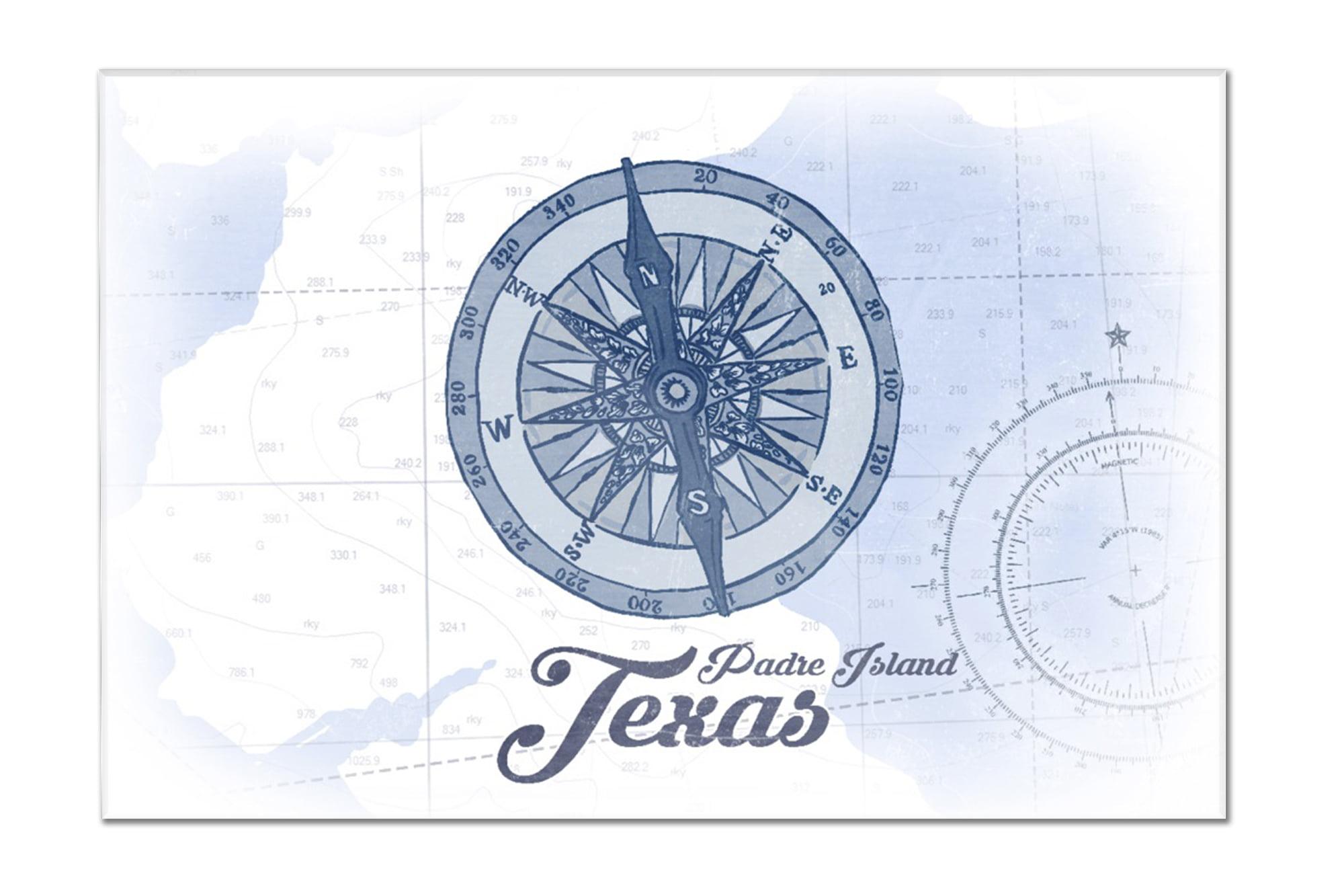 Padre Island, Texas - Compass - Blue - Coastal Icon - Lantern Press Artwork  (18x12 Acrylic Wall Art Gallery Quality)
