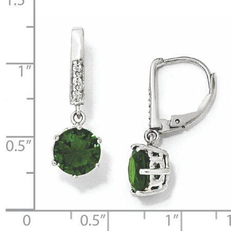 Cheryl M Sterling Silver Glass Simulated Emerald & CZ Leverback Earrings QCM382 - image 1 of 2