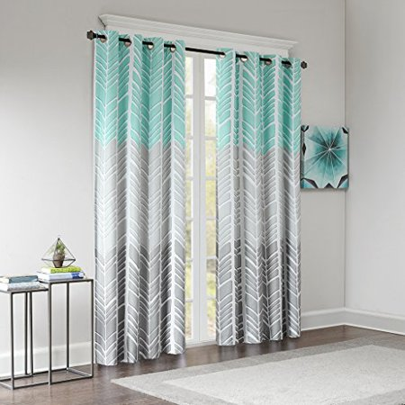 "84""x50"" Amanda Printed Blackout Window Panel Aqua"