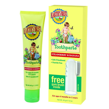 Earth's Best Toothpaste, Strawberry & Banana, 1.6 oz. (Best Toothpaste For Gingivitis In India)