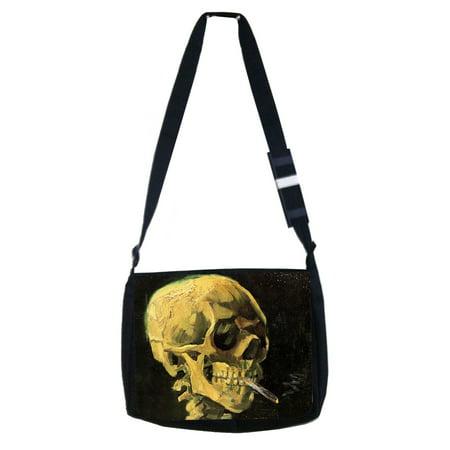 Skull of Skeleton with a Burning Cigarette - Black Laptop Shoulder Messenger Bag and Small Wire Accessories Case Set