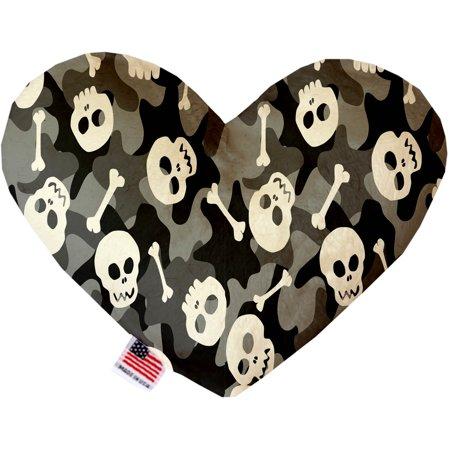 Gray Camo Skulls 6 Inch Canvas Heart Dog Toy