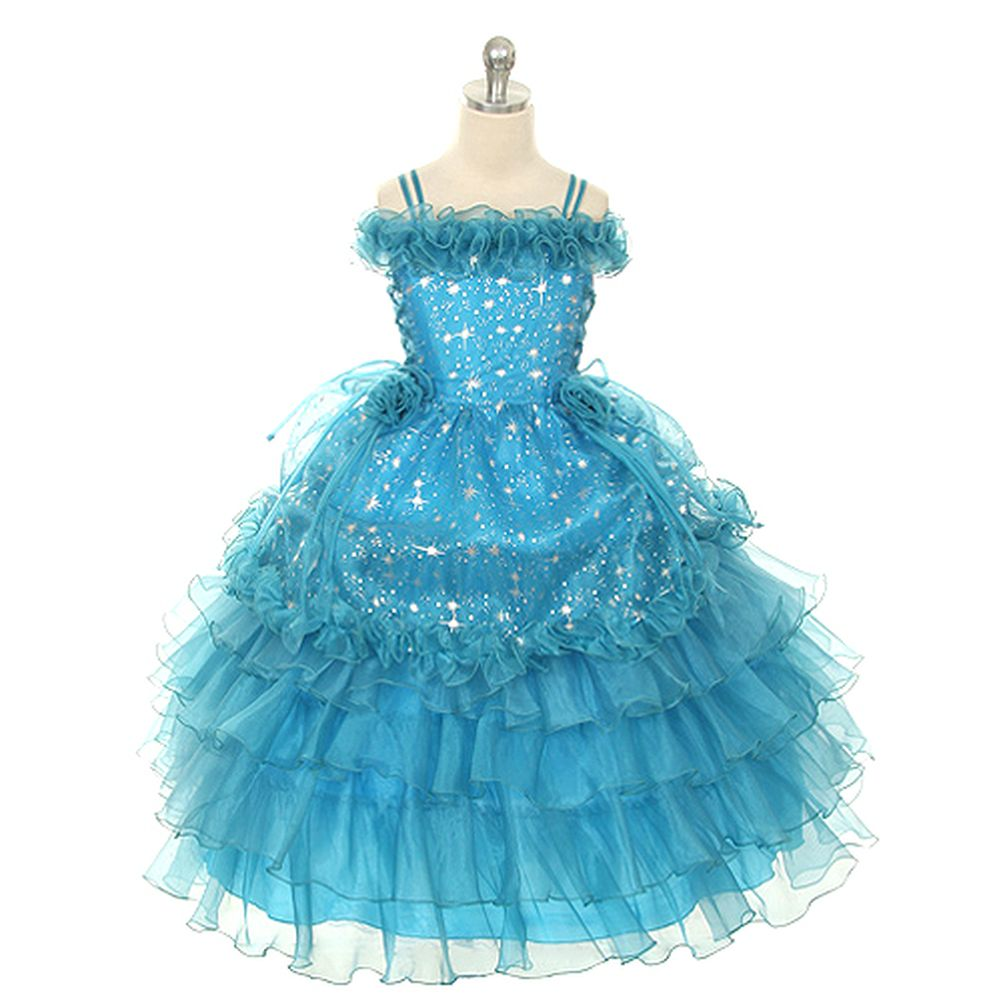 Rain Kids Turquoise Stars Off Shoulder Pageant Dress Little Girl 2T-14