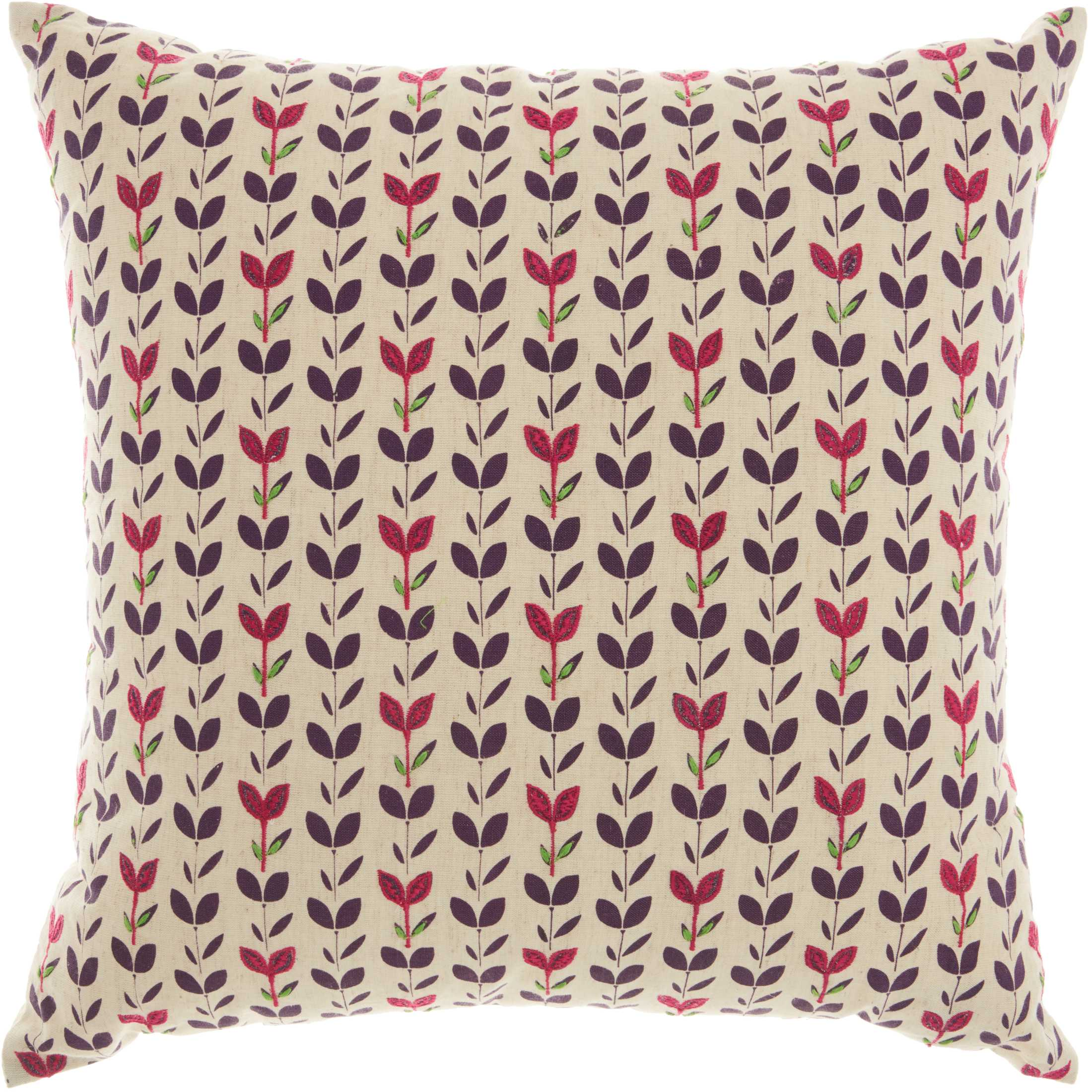 Nourison Trendy, Hip, & New Age Embroidered Leaves Natural Throw Pillow