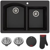 "KRAUS Forteza™ 33"" Dual Mount 60/40 Double Bowl Granite Kitchen Sink in Black"