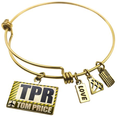 Expandable Wire Bangle Bracelet Airportcode Tpr Tom Price   Neonblond