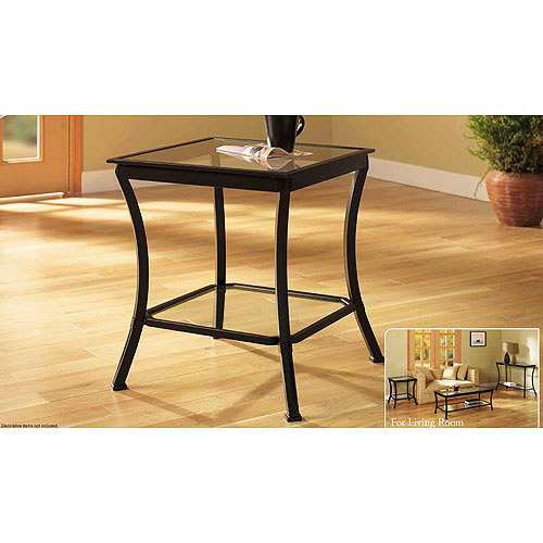 mendocino side & end table, metal & glass - walmart