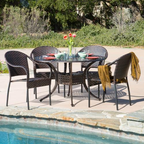 Dawn Circular Outdoor Cast And Wicker 5-Piece Set