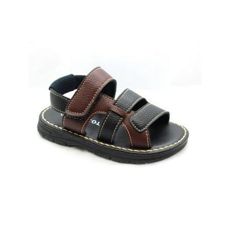 Victor Little Boys Black Woven Strap Slingback Walking Sandals