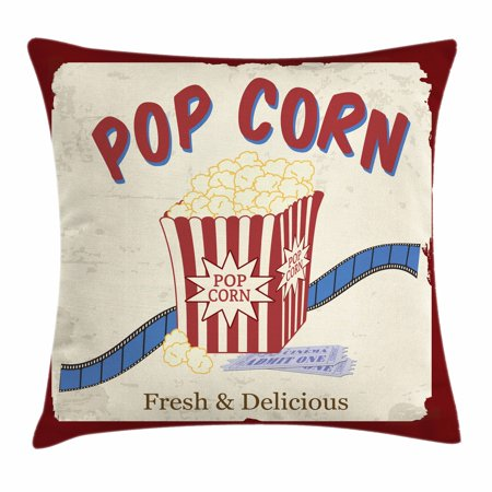 Movie Theater Throw Pillow Cushion Cover, Fresh and Delicious Pop Corn Film Tickets and Strip Advertising in 60s Theme, Decorative Square Accent Pillow Case, 18 X 18 Inches, Multicolor, by - 60s Themes