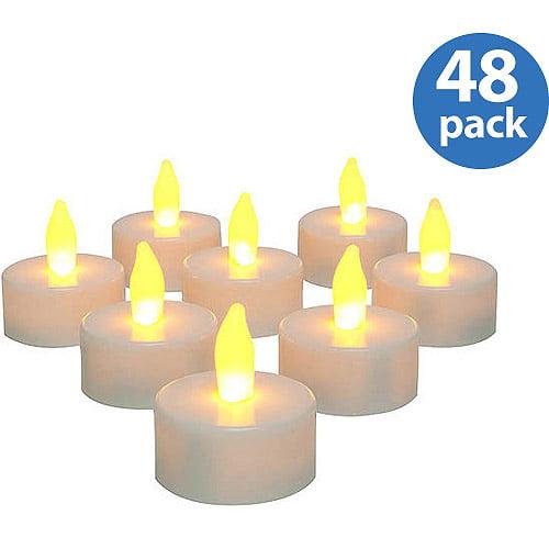 Inglow Flameless Tea Light Candles, White, Set of 48