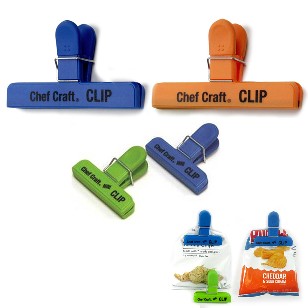 4 Pc Bag Clips Food Chip Assorted Size Multi Purpose Clothespin Mini Clip Crafts