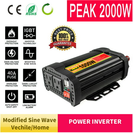 Modified/Pure Sine Wave Solar Power Inverter 1000W 5000W Peak 2000W/10000W 12V DC To 110V AC Converters Adapter Manual Switch Over Temperature Protection for Household Car