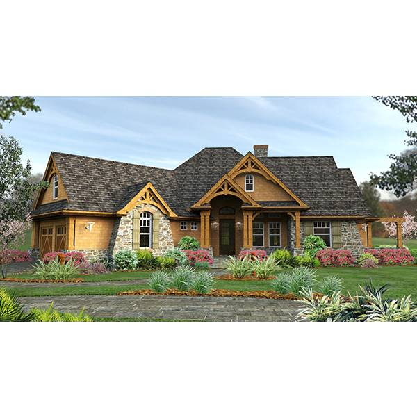 TheHouseDesigners-1895 Craftsman Ranch House Plan with Slab Foundation (5 Printed Sets)