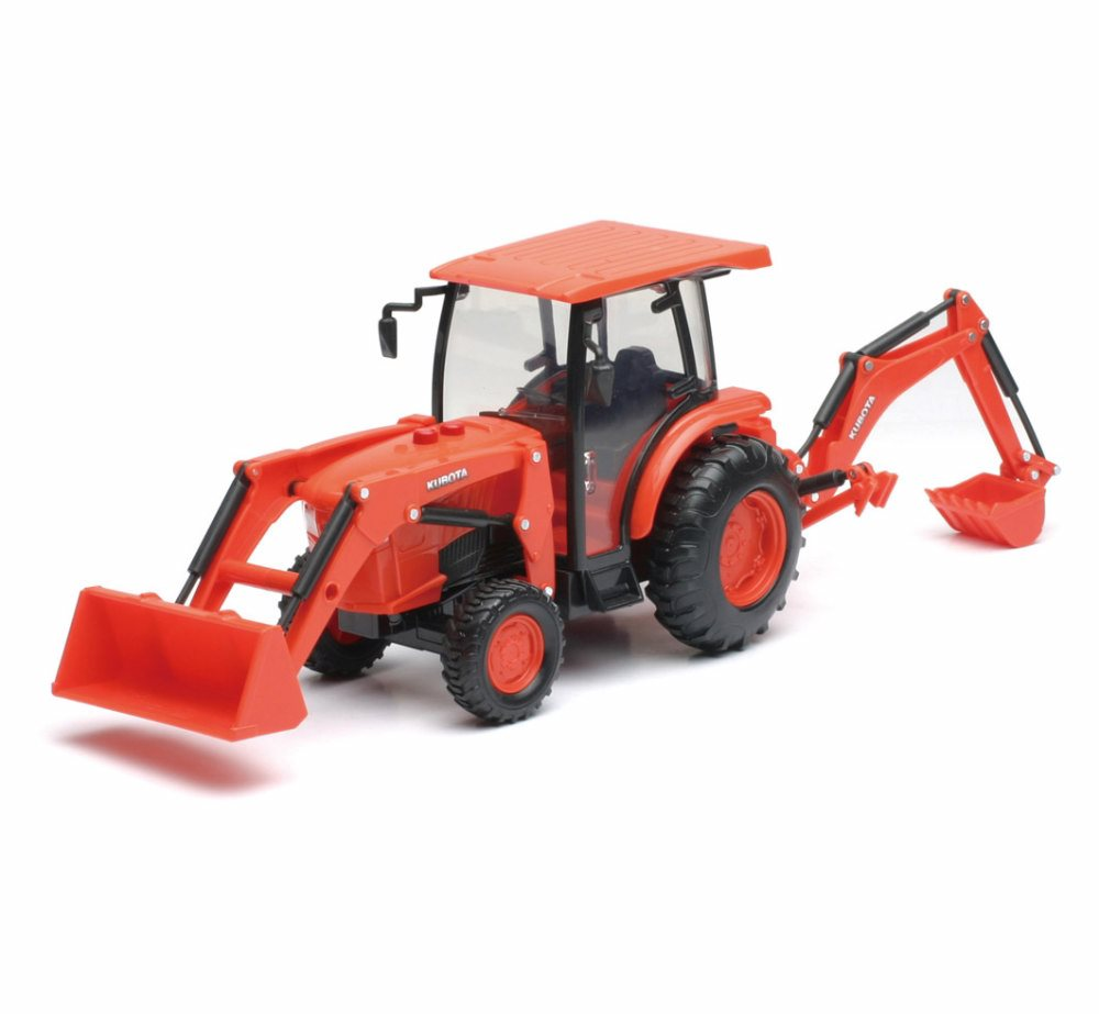 Kubota Farm Backhoe Loader, Orange New Ray SS-33123 1 32 Scale Model Vehicle Replica by GreenLight
