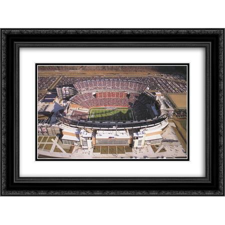 Gillette Stadium Framed - Gillette Stadium 2x Matted 24x18 Black Ornate Framed Art Print from the Stadium Series