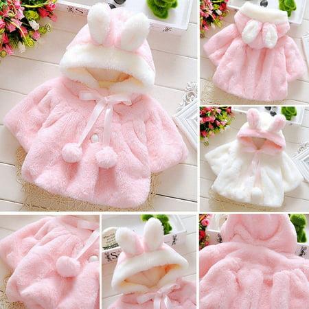 Winter Newborn Kids Baby Girl Fur Coat Cloak Jacket Snowsuit Outerwear
