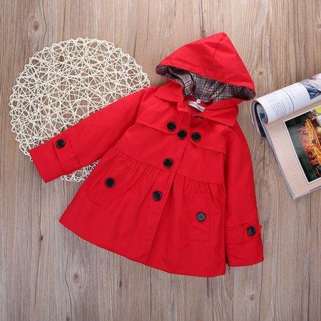 2-7 Year Kid Girl Hooded Long Trench Rain Coat Jacket Parka Outwear Clothing ()