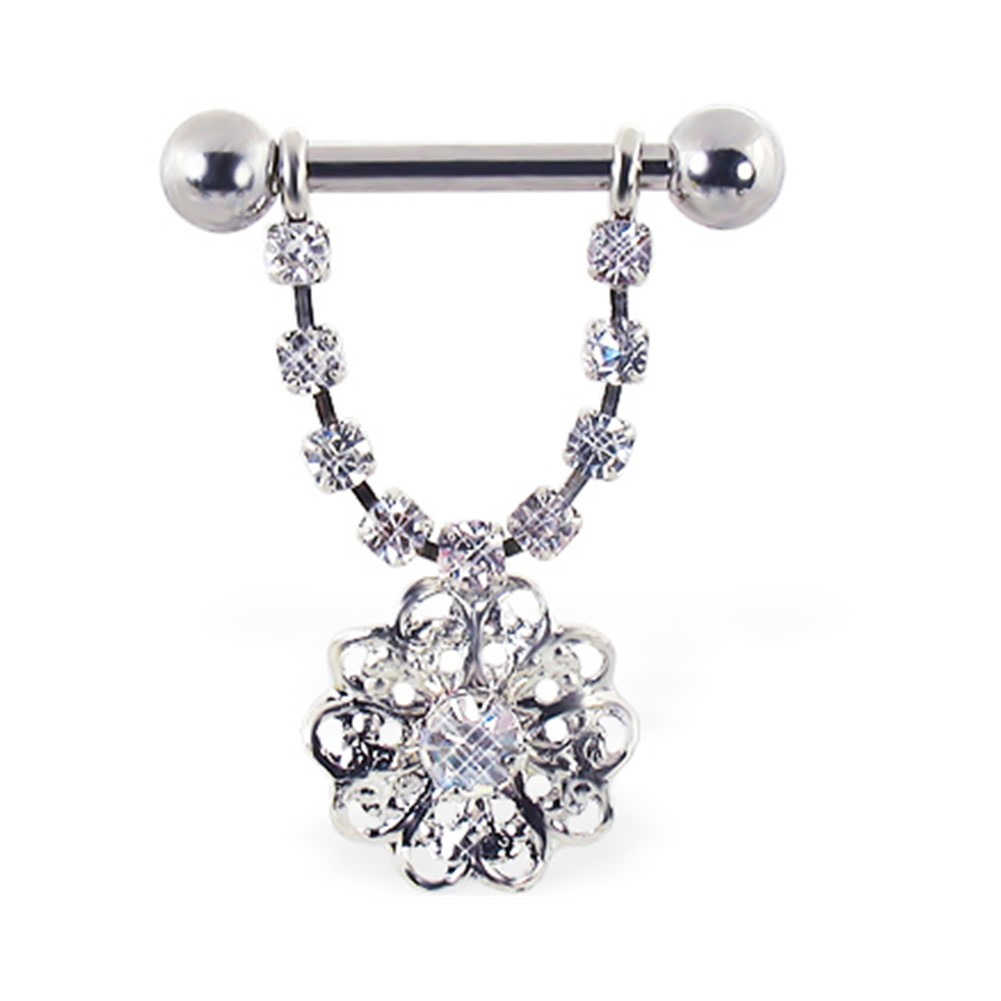 MsPiercing Nipple Ring With Dangling Jeweled Chain And LOVE 12 Ga Or 14 Ga