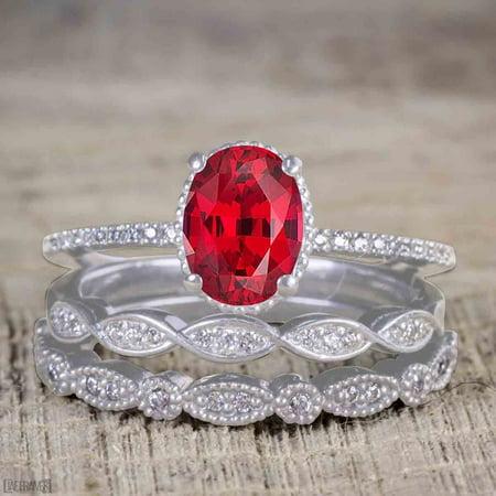 Jeenmata Beautiful 1 5 Carat Oval Cut Real Ruby And Moissanite