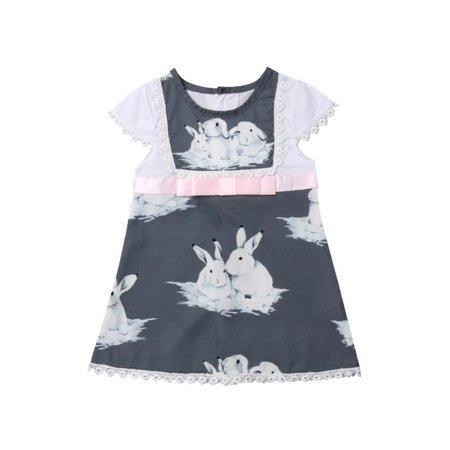 Toddler Baby Girl Bunny Dress Easter Gift Short Sleeve Sundress Ribbon Waist Skirt Clothes 1-6T Outfit](Easter Bunny Dresses)