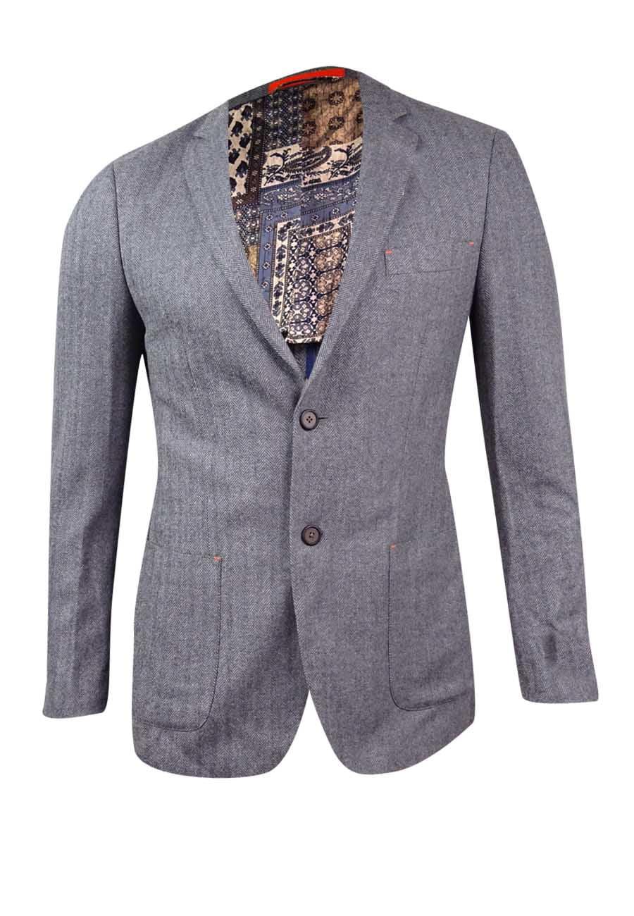 Tallia Men's Slim-Fit Herringbone Wool Sport Coat (38R, Grey) by