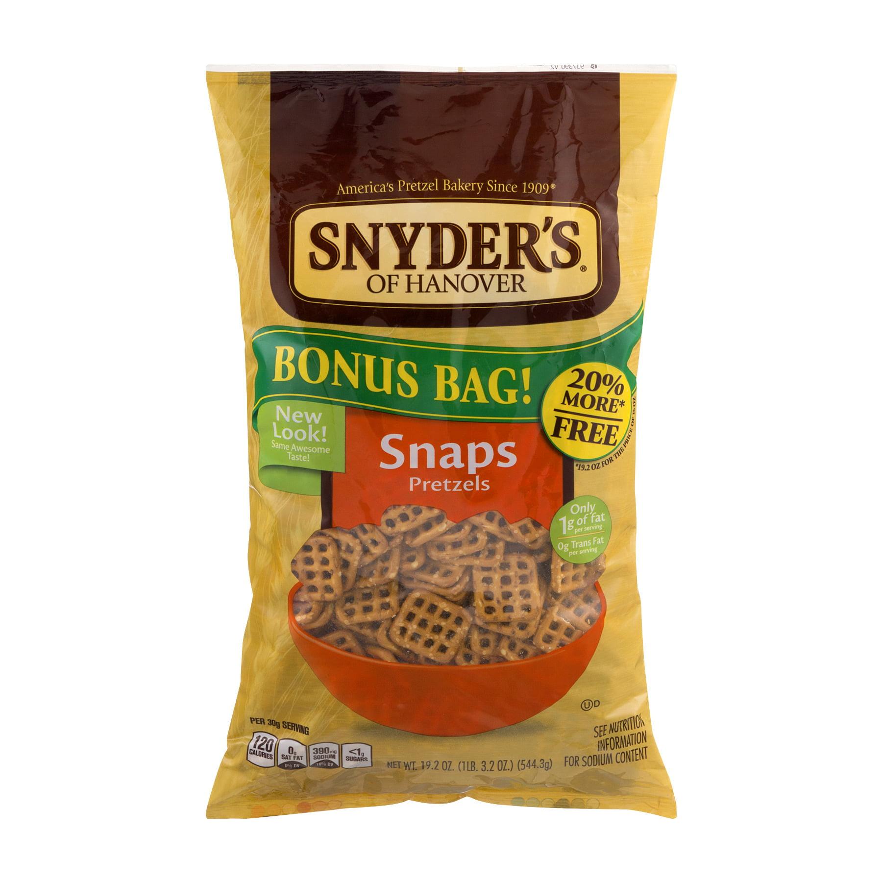 Snyder's Of Hanover Snaps Pretzels Bonus Bag, 19.2 OZ