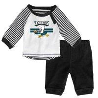 Newborn & Infant White/Green Philadelphia Eagles Long Sleeve Pants Set