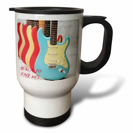 3dRose 50 s Guitars, Travel Mug, 14oz, Stainless Steel