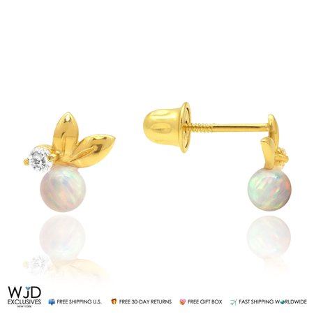 0 05Ct Created Diamond White Fire Opal Leaf Ball Stud Earrings 14K Yellow  Gold