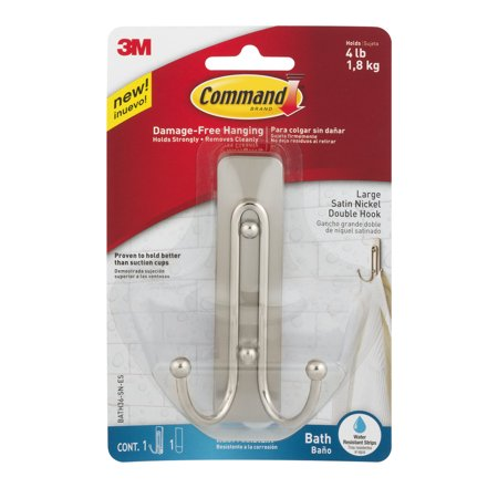 Command Bath Double Wall Hook Metal Satin