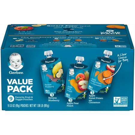 Gerber Favorite Fruit & Veggie Pouches Value Pack 9-3.5 oz. Pouches